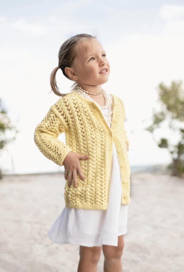 Strickjacke für Kinder in Gelb